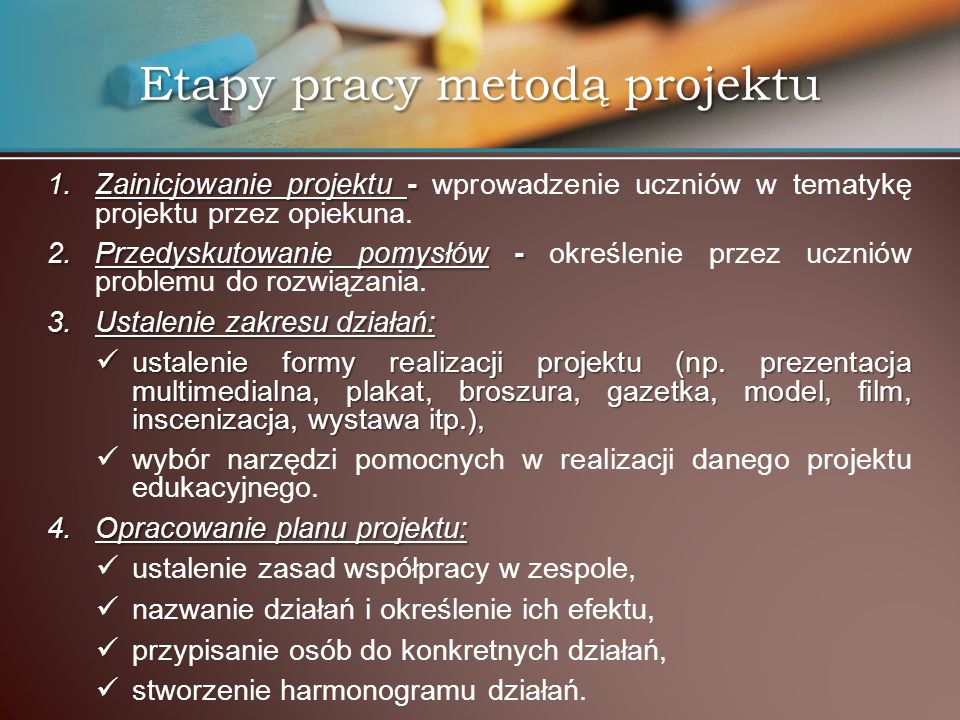 Etapy pracy metodą projektu