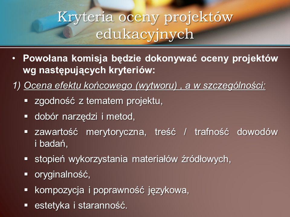 Kryteria oceny projektów edukacyjnych