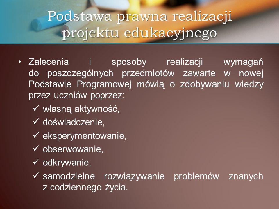 Podstawa prawna realizacji projektu edukacyjnego