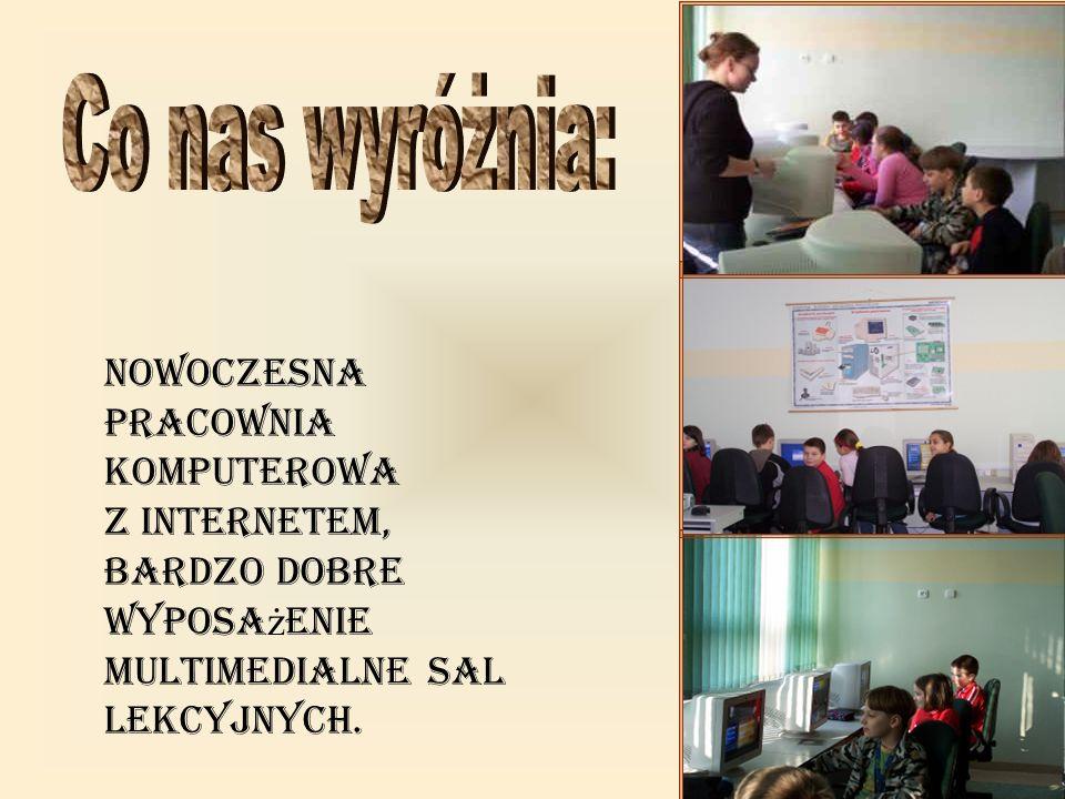 Co nas wyróżnia: Nowoczesna pracownia komputerowa z Internetem, bardzo dobre wyposażenie multimedialne sal lekcyjnych.