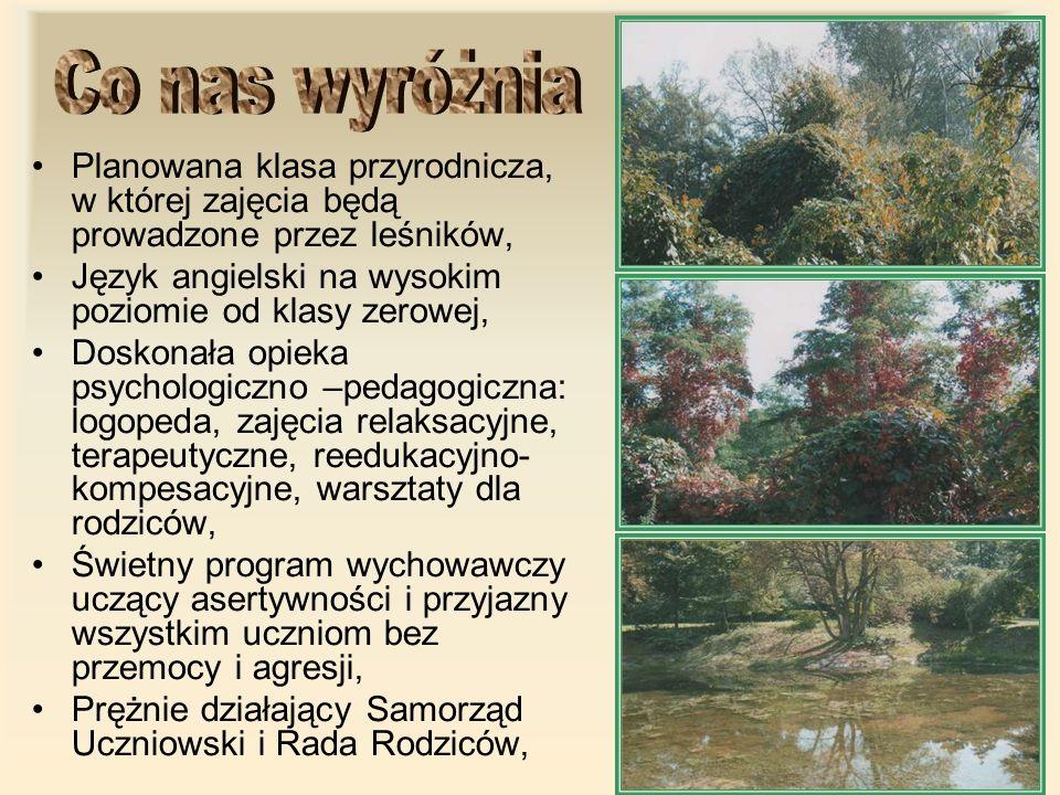 Co nas wyróżniaPlanowana klasa przyrodnicza, w której zajęcia będą prowadzone przez leśników, Język angielski na wysokim poziomie od klasy zerowej,