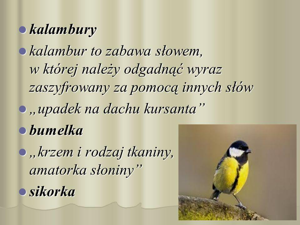 kalambury kalambur to zabawa słowem, w której należy odgadnąć wyraz zaszyfrowany za pomocą innych słów.