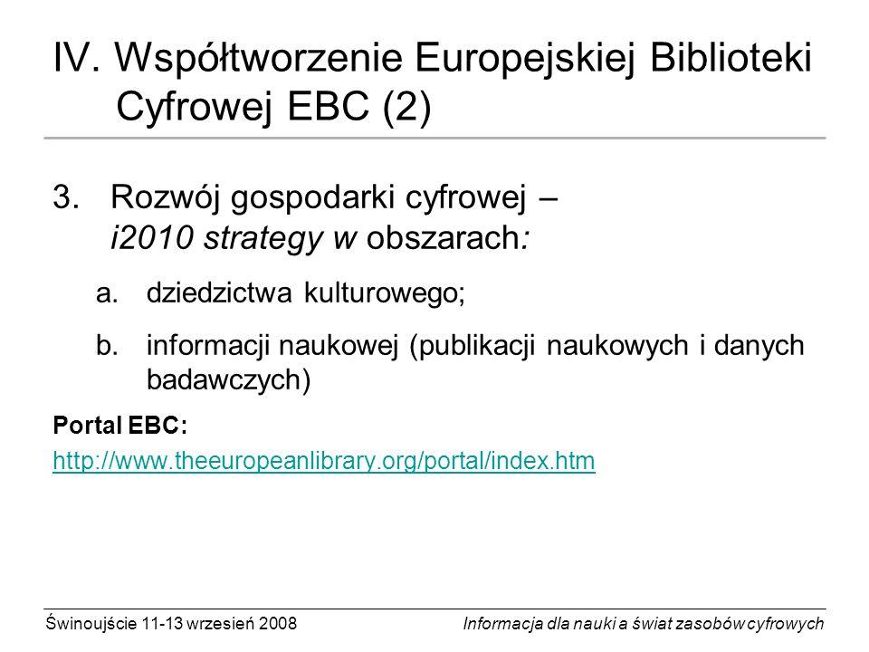 IV. Współtworzenie Europejskiej Biblioteki Cyfrowej EBC (2)