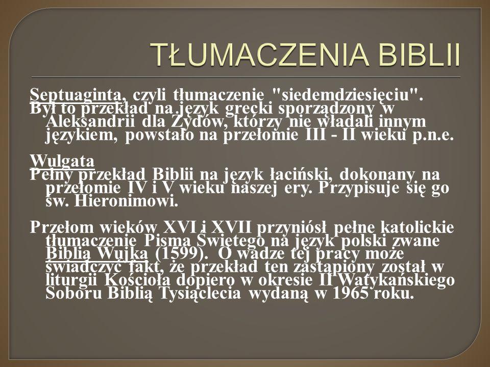 TŁUMACZENIA BIBLII