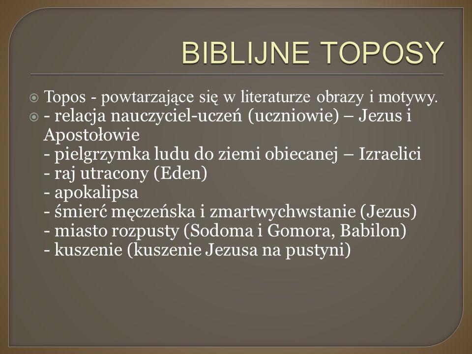 BIBLIJNE TOPOSY Topos - powtarzające się w literaturze obrazy i motywy.