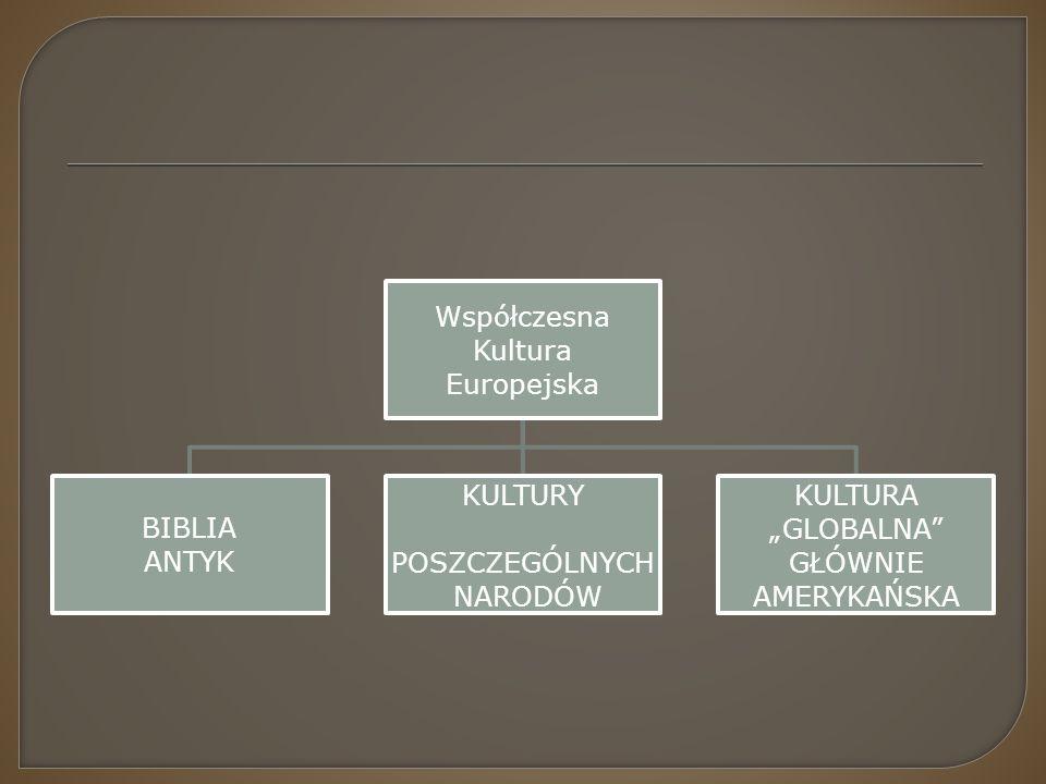"""Współczesna Kultura. Europejska. BIBLIA. ANTYK. KULTURY. POSZCZEGÓLNYCH. NARODÓW. KULTURA. """"GLOBALNA"""