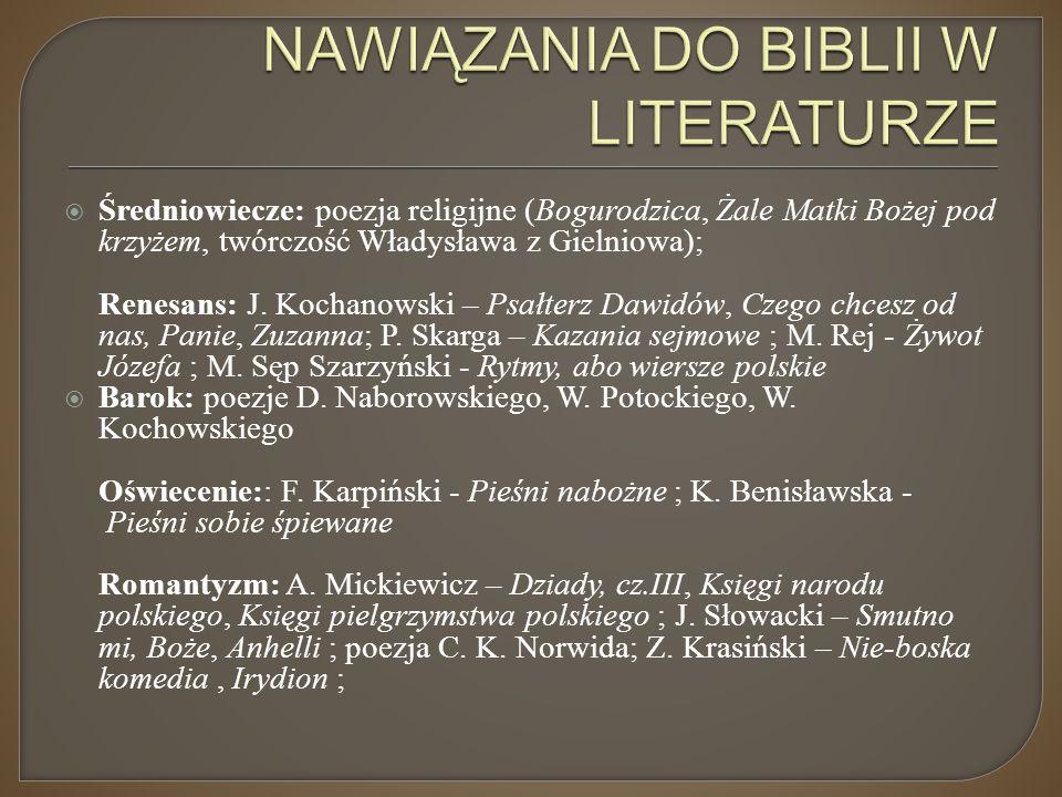 NAWIĄZANIA DO BIBLII W LITERATURZE