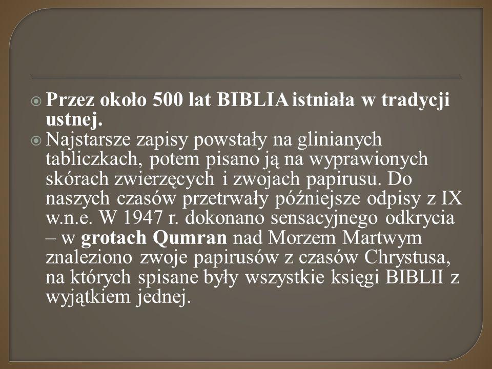 Przez około 500 lat BIBLIA istniała w tradycji ustnej.