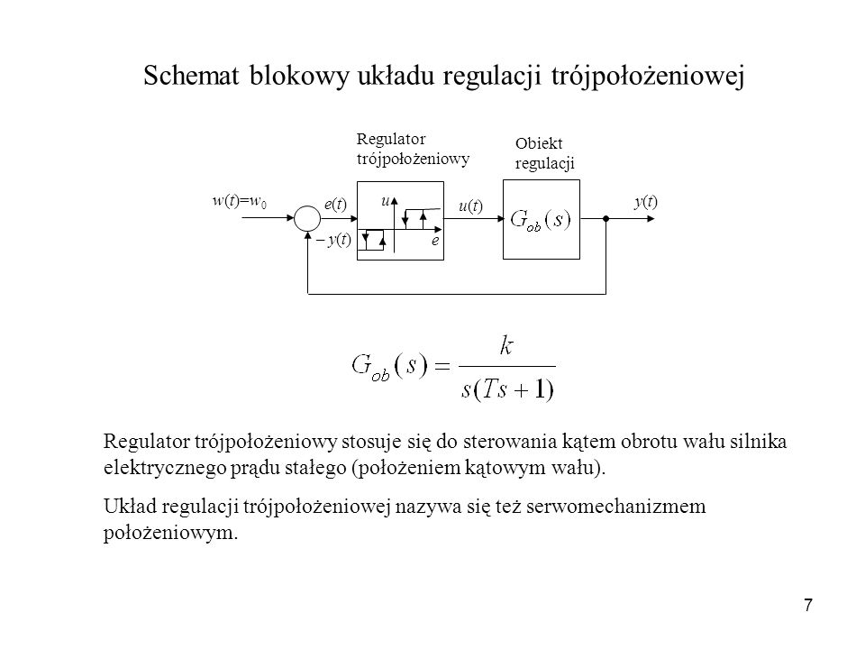 Schemat blokowy układu regulacji trójpołożeniowej