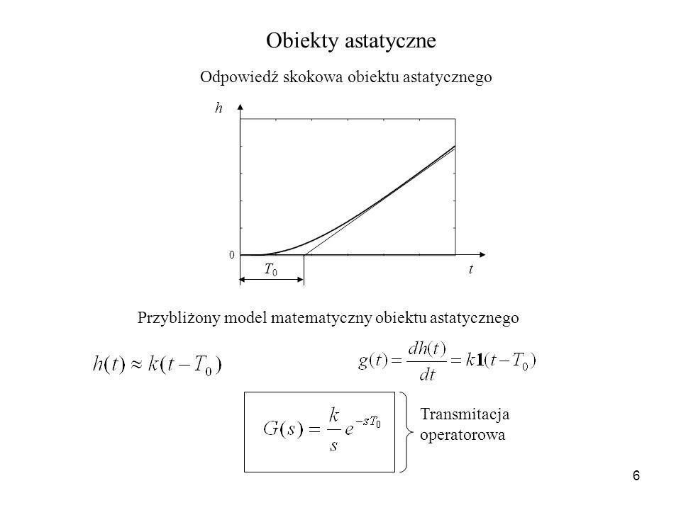 Obiekty astatyczne Odpowiedź skokowa obiektu astatycznego