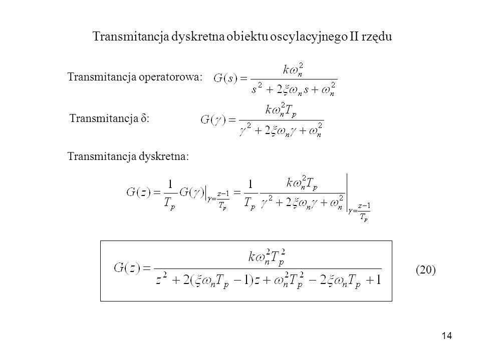 Transmitancja dyskretna obiektu oscylacyjnego II rzędu