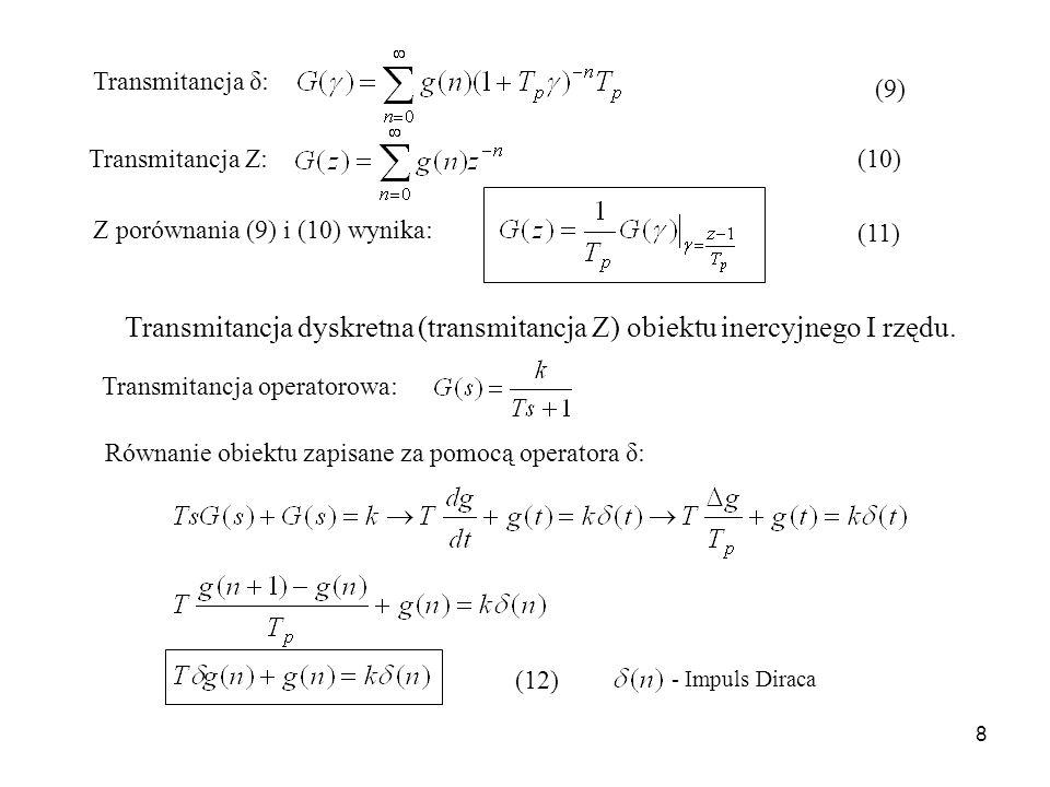 Transmitancja dyskretna (transmitancja Z) obiektu inercyjnego I rzędu.