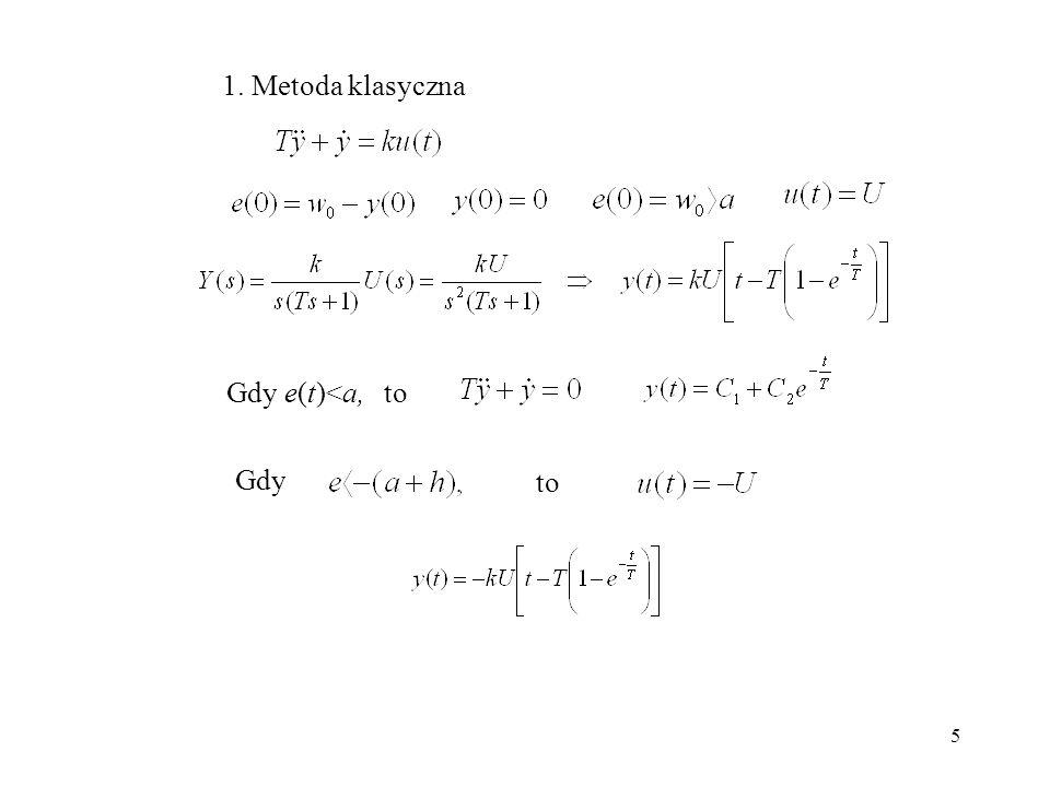 1. Metoda klasyczna Gdy e(t)<a, to Gdy to