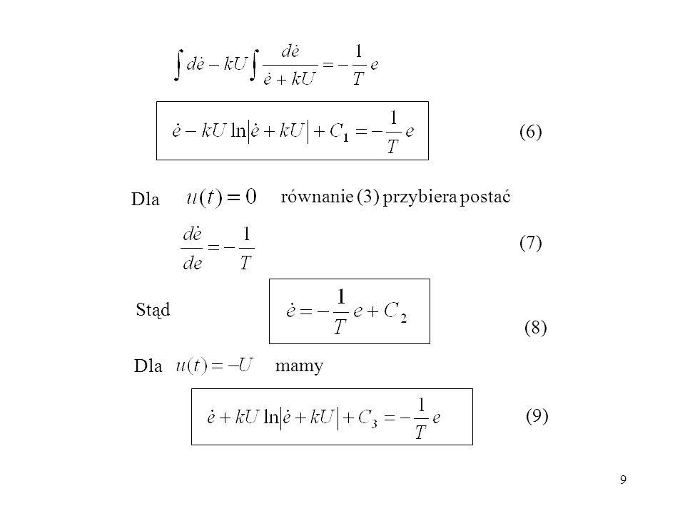(6) równanie (3) przybiera postać Dla (7) Stąd (8) Dla mamy (9)