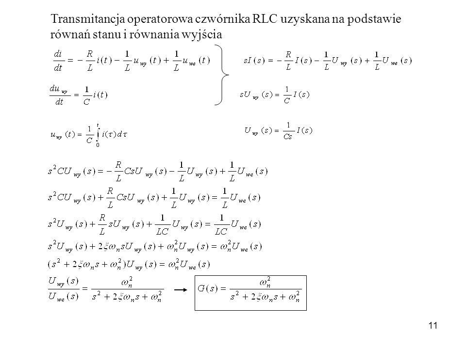 Transmitancja operatorowa czwórnika RLC uzyskana na podstawie równań stanu i równania wyjścia
