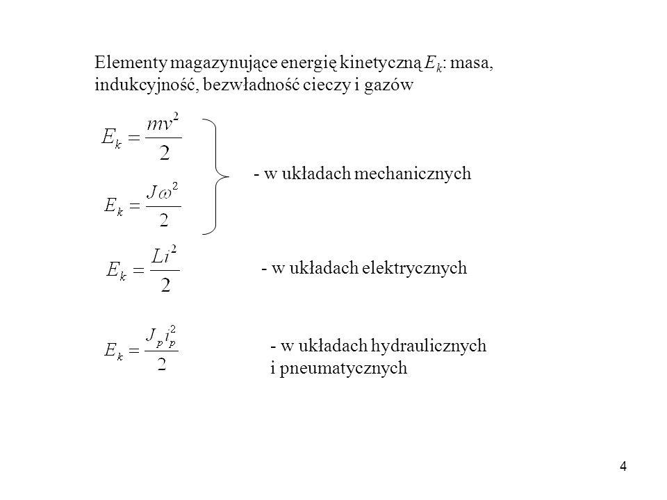 Elementy magazynujące energię kinetyczną Ek: masa, indukcyjność, bezwładność cieczy i gazów