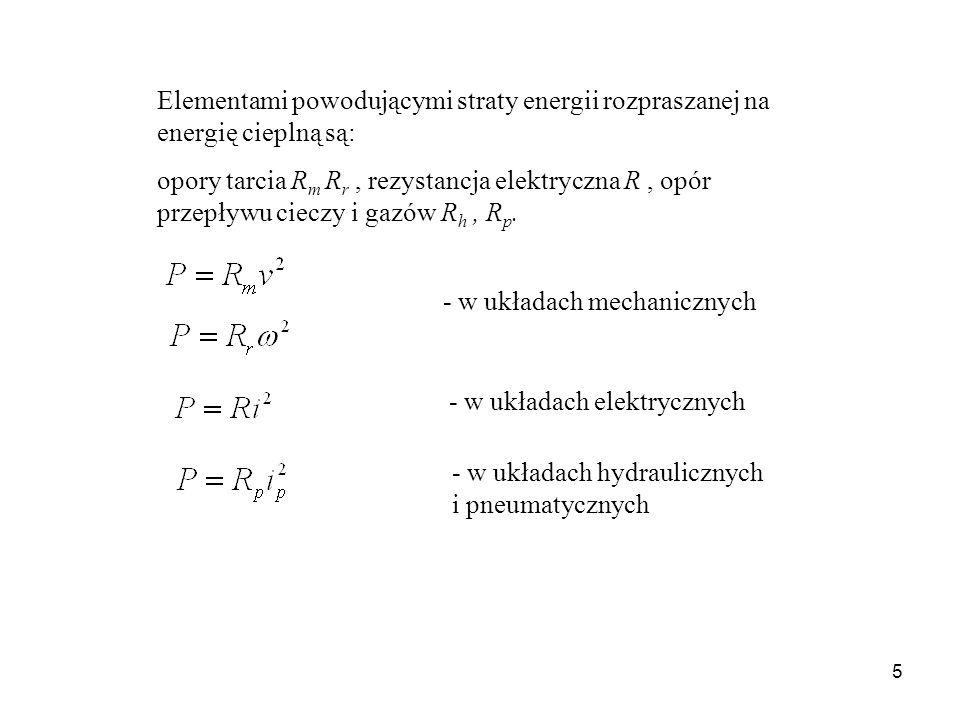 Elementami powodującymi straty energii rozpraszanej na energię cieplną są: