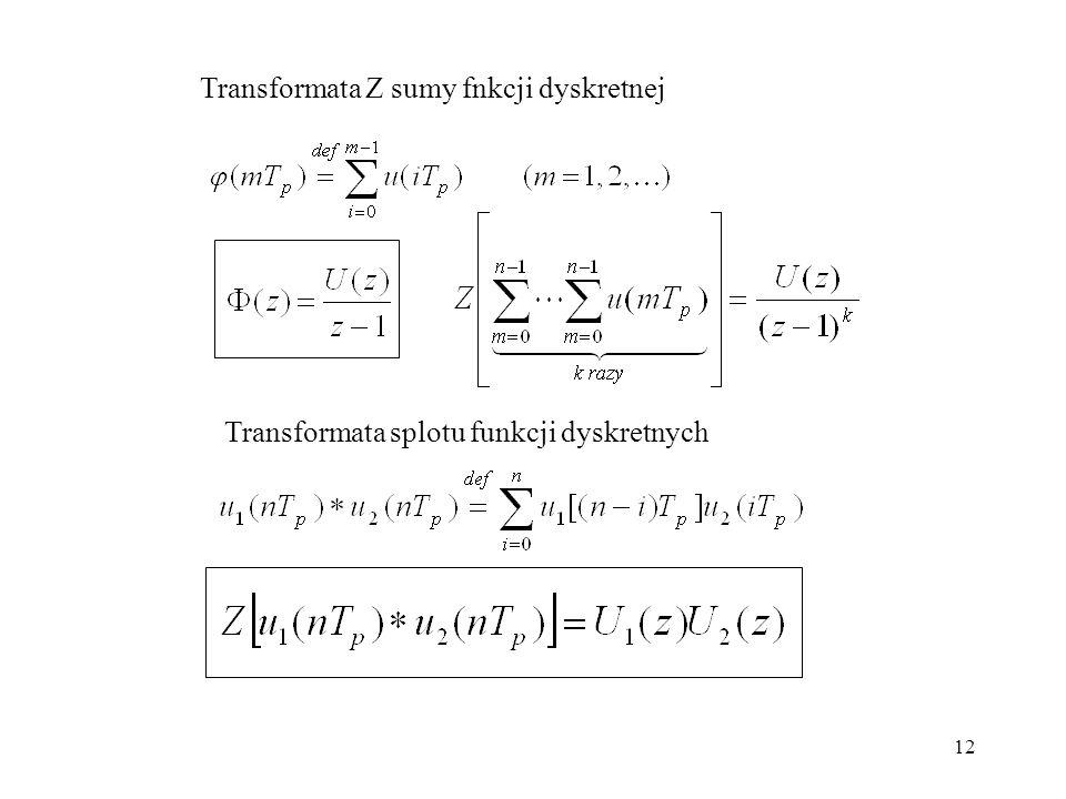 Transformata Z sumy fnkcji dyskretnej