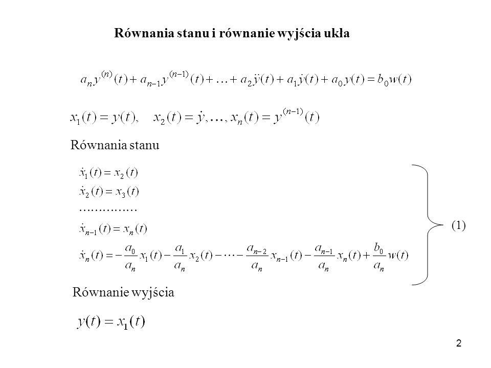 Równania stanu i równanie wyjścia ukła