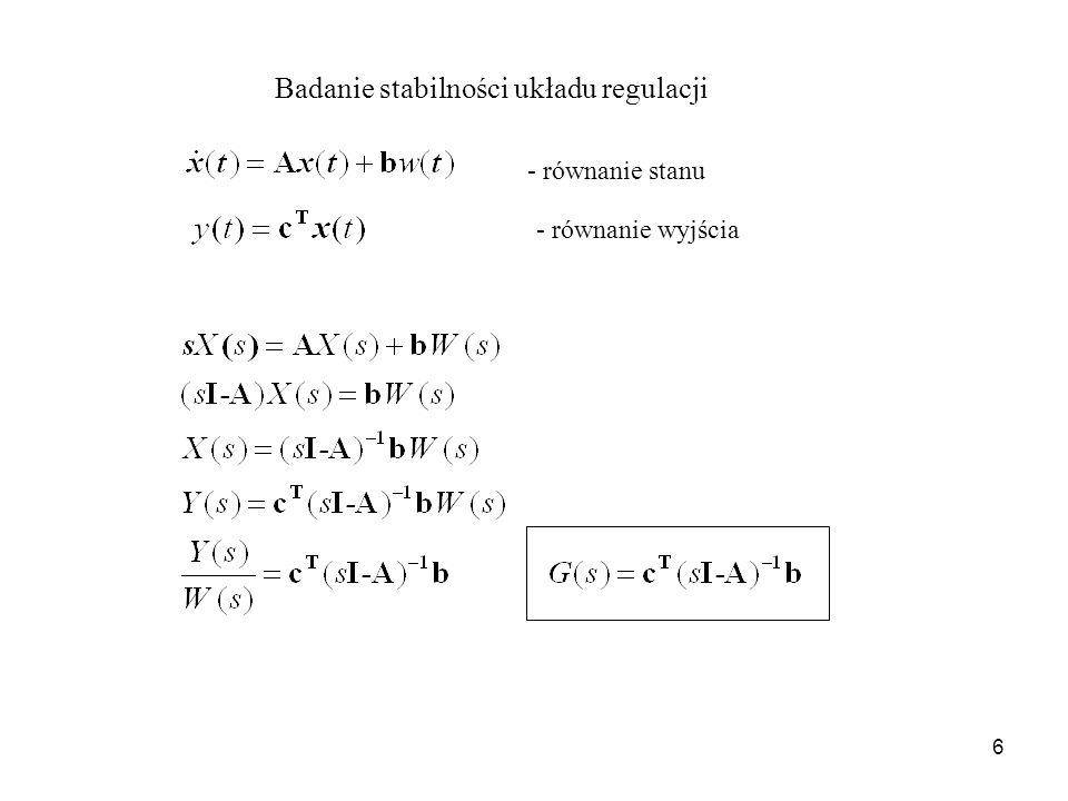 Badanie stabilności układu regulacji