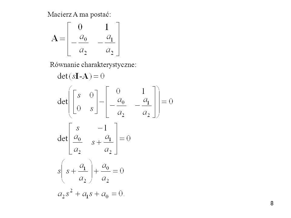 Macierz A ma postać: Równanie charakterystyczne: