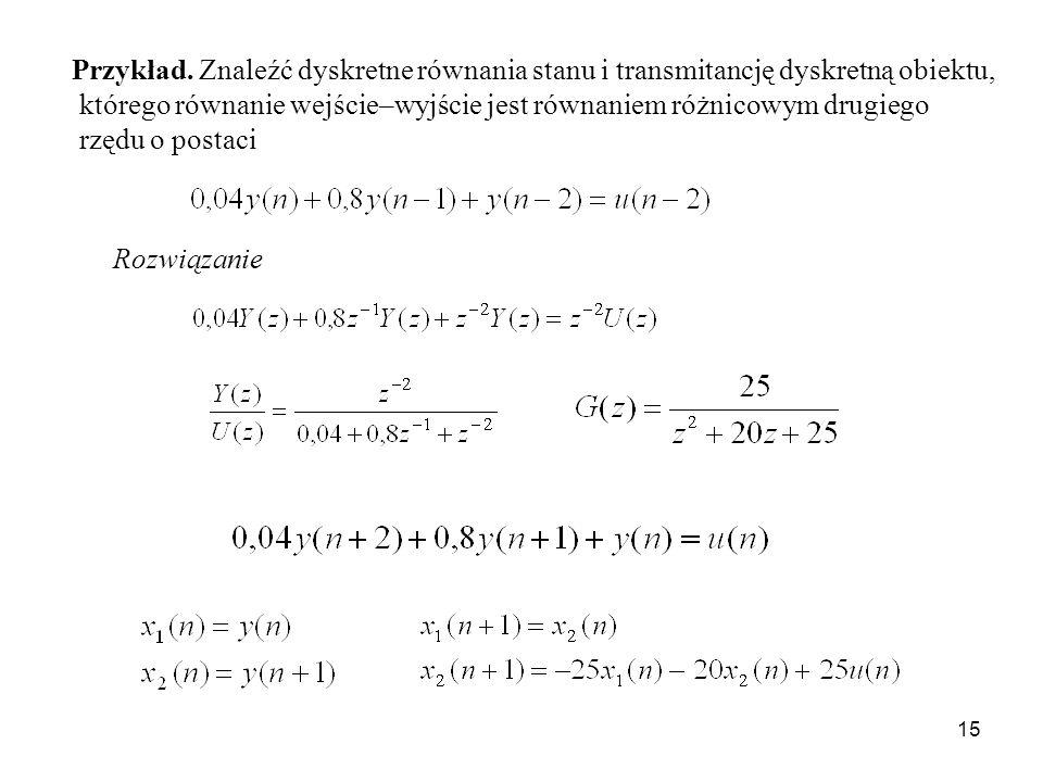 Przykład. Znaleźć dyskretne równania stanu i transmitancję dyskretną obiektu,