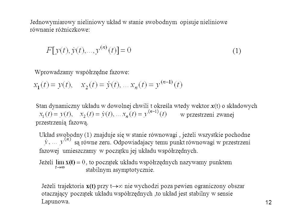 Jednowymiarowy nieliniowy układ w stanie swobodnym opisuje nieliniowe równanie różniczkowe: