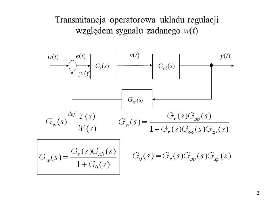 Transmitancja operatorowa układu regulacji względem sygnału zadanego w(t)
