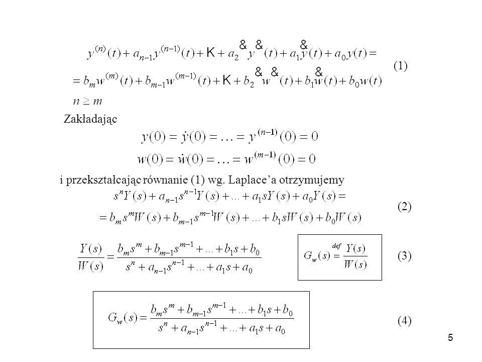 (1) Zakładając i przekształcając równanie (1) wg. Laplace'a otrzymujemy (2) (3) (4)
