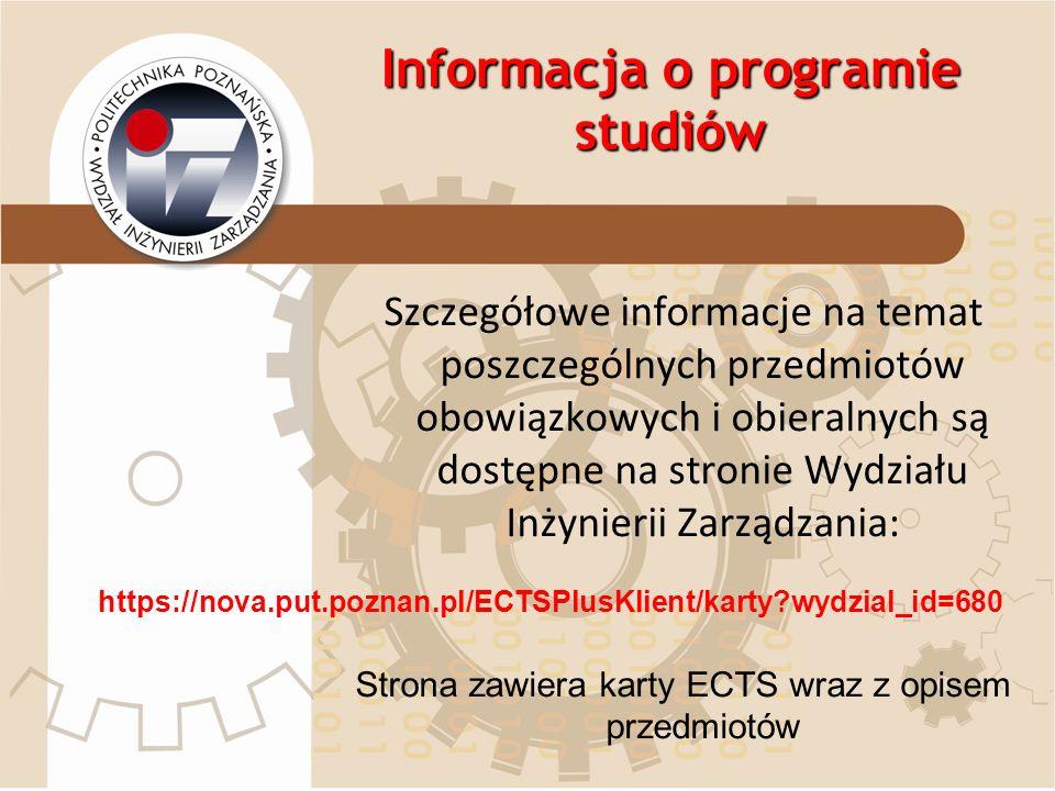 Informacja o programie studiów