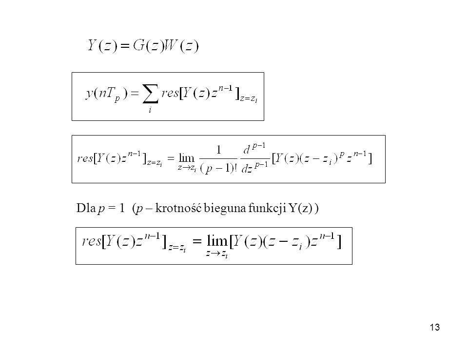 Dla p = 1 (p – krotność bieguna funkcji Y(z) )