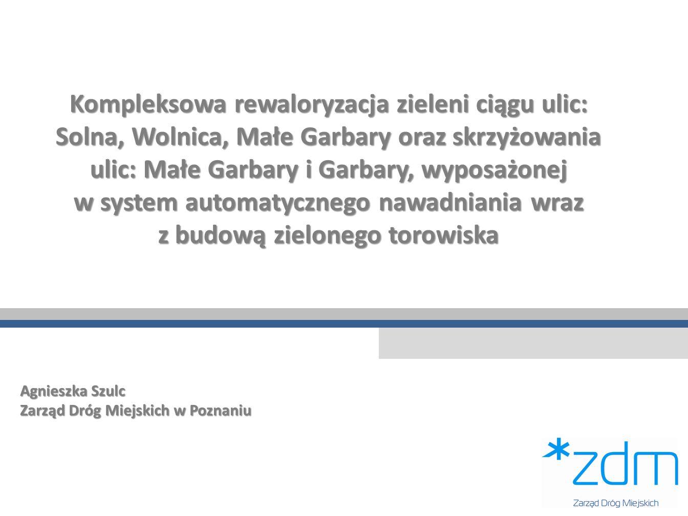 Kompleksowa rewaloryzacja zieleni ciągu ulic: Solna, Wolnica, Małe Garbary oraz skrzyżowania ulic: Małe Garbary i Garbary, wyposażonej w system automatycznego nawadniania wraz z budową zielonego torowiska