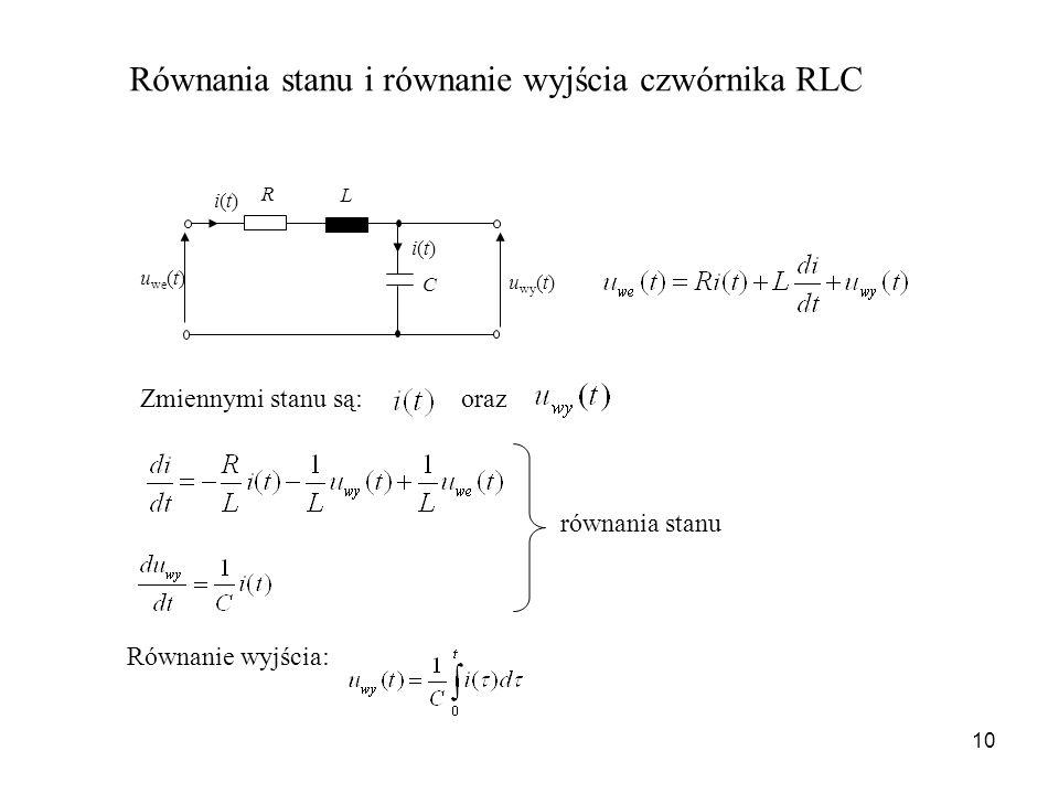 Równania stanu i równanie wyjścia czwórnika RLC