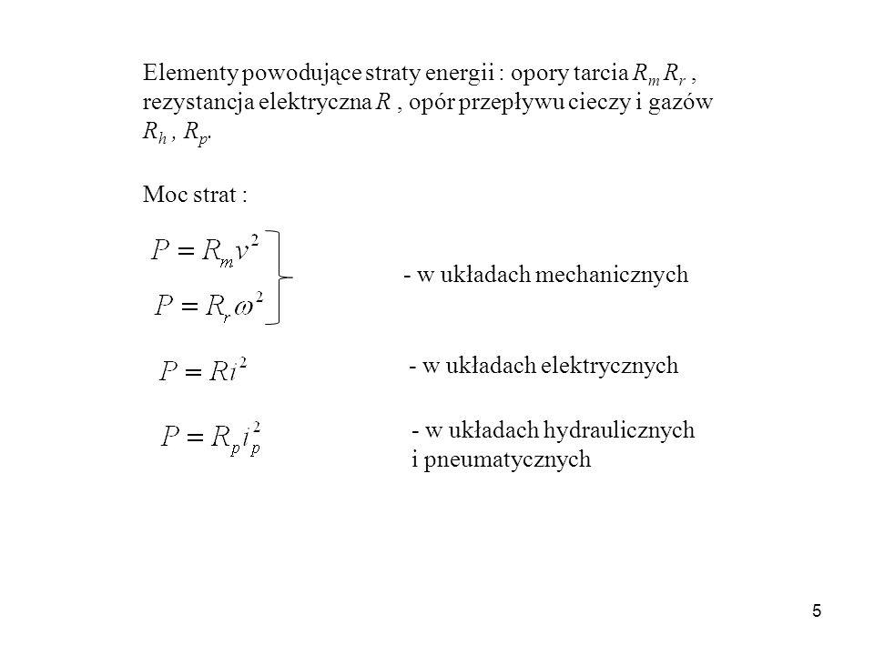 Elementy powodujące straty energii : opory tarcia Rm Rr , rezystancja elektryczna R , opór przepływu cieczy i gazów Rh , Rp.
