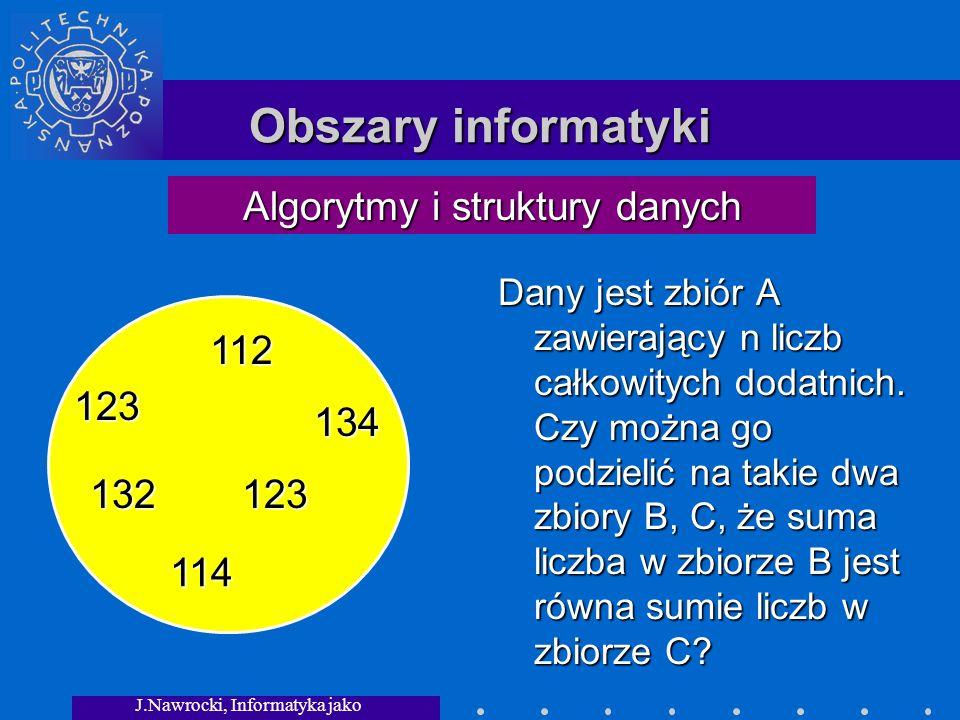 Obszary informatyki Algorytmy i struktury danych 112 123 134 132 114