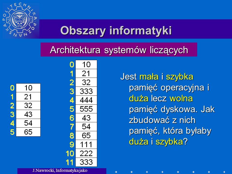 Obszary informatyki Architektura systemów liczących