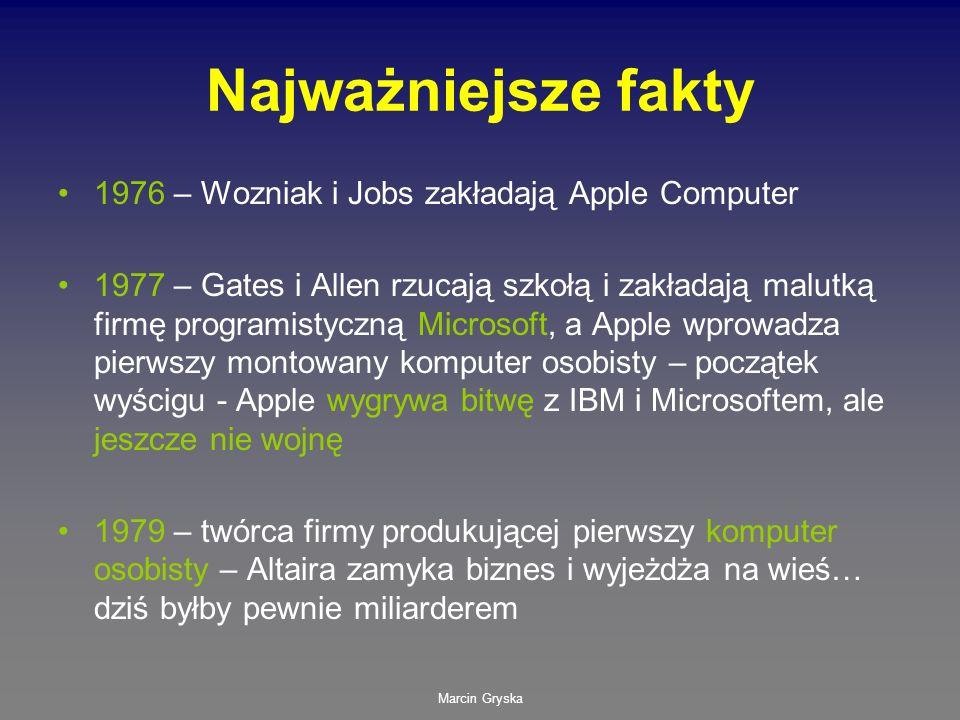 Najważniejsze fakty 1976 – Wozniak i Jobs zakładają Apple Computer