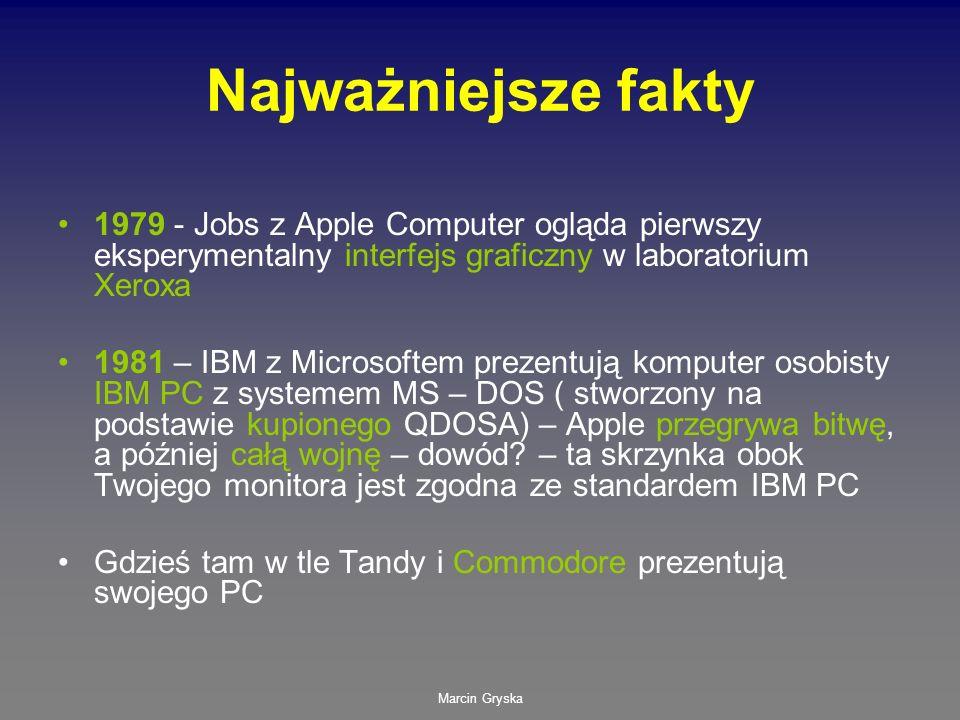 Najważniejsze fakty 1979 - Jobs z Apple Computer ogląda pierwszy eksperymentalny interfejs graficzny w laboratorium Xeroxa.