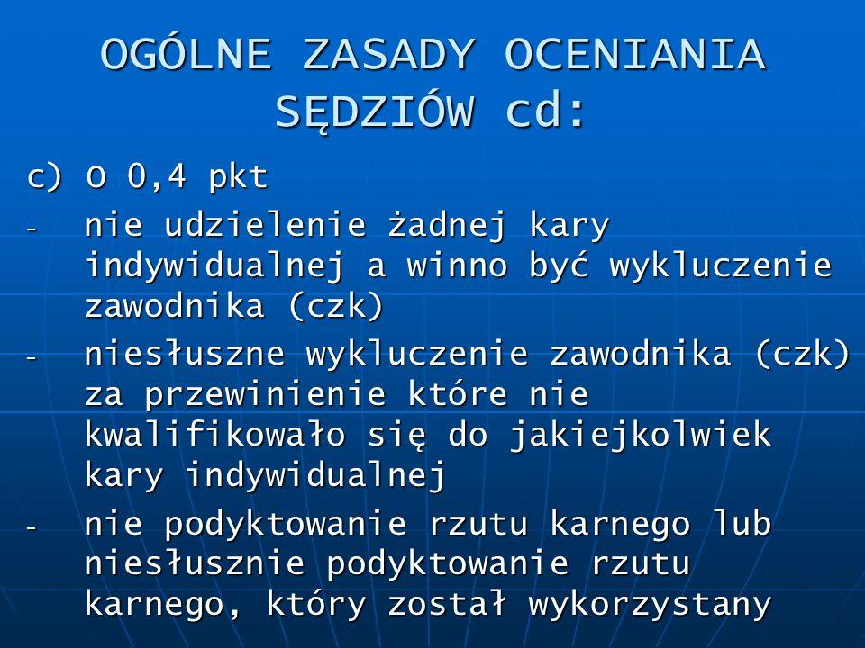 OGÓLNE ZASADY OCENIANIA SĘDZIÓW cd: