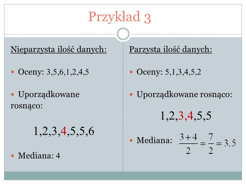 Przykład 3 1,2,3,4,5,5,6 Nieparzysta ilość danych: