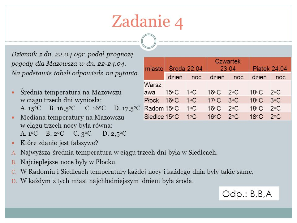 Zadanie 4 Odp.: B,B,A Dziennik z dn. 22.04.09r. podał prognozę