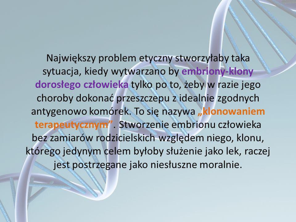 Największy problem etyczny stworzyłaby taka sytuacja, kiedy wytwarzano by embriony-klony dorosłego człowieka tylko po to, żeby w razie jego choroby dokonać przeszczepu z idealnie zgodnych antygenowo komórek.