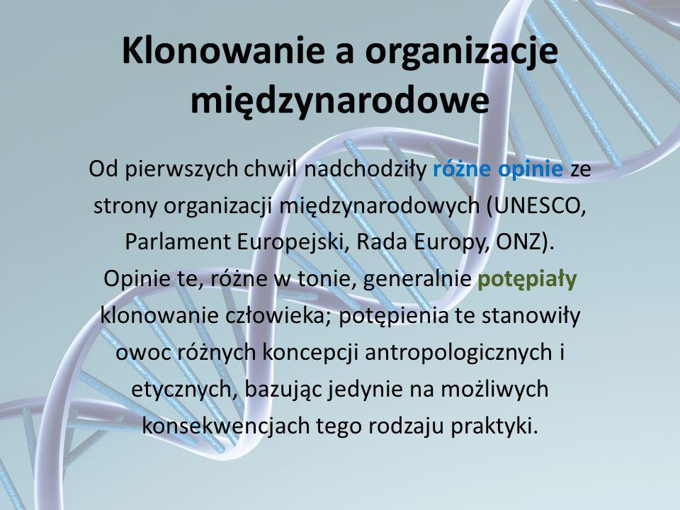 Klonowanie a organizacje międzynarodowe