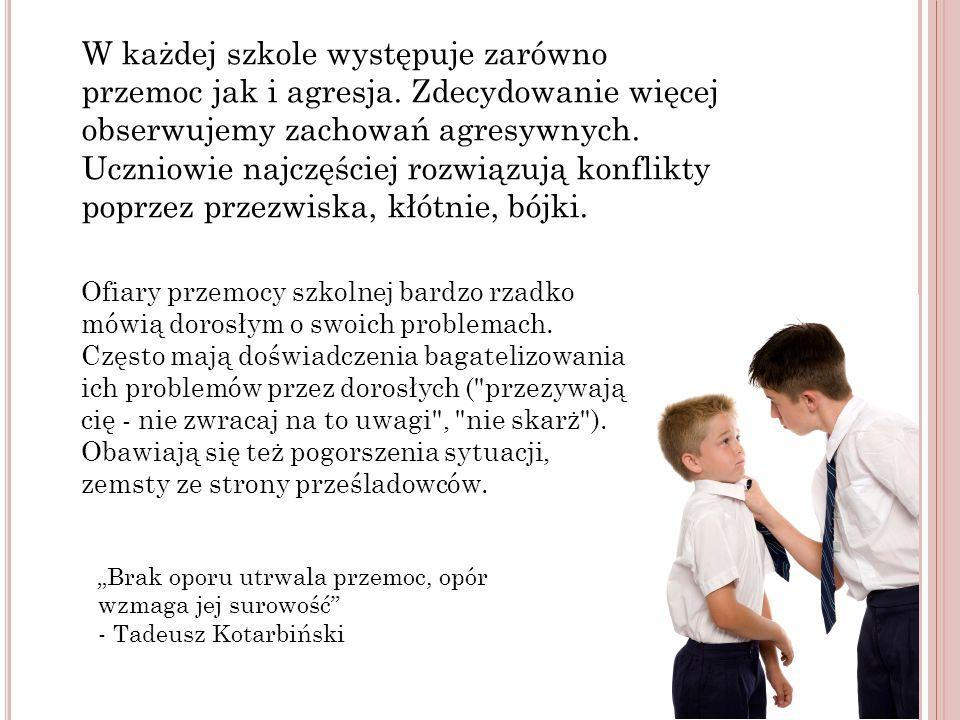 W każdej szkole występuje zarówno przemoc jak i agresja