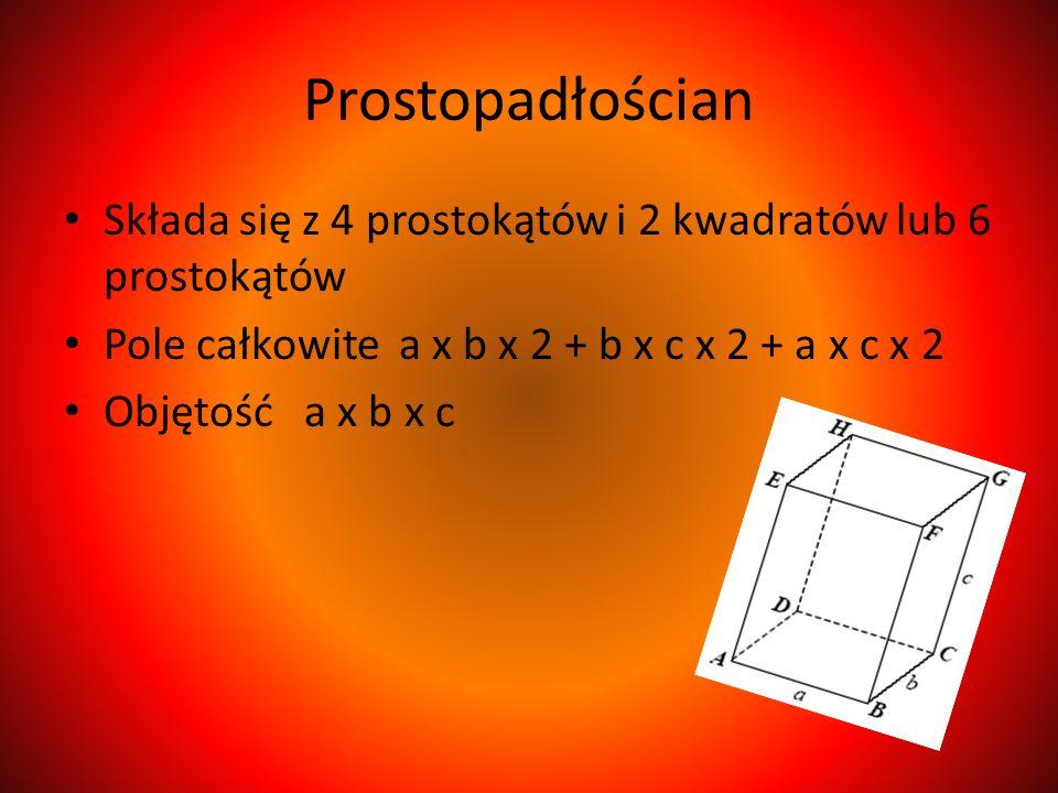 Prostopadłościan Składa się z 4 prostokątów i 2 kwadratów lub 6 prostokątów. Pole całkowite a x b x 2 + b x c x 2 + a x c x 2.