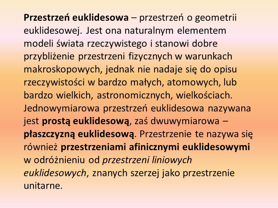 Przestrzeń euklidesowa – przestrzeń o geometrii euklidesowej