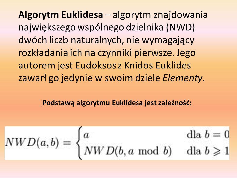 Algorytm Euklidesa – algorytm znajdowania największego wspólnego dzielnika (NWD) dwóch liczb naturalnych, nie wymagający rozkładania ich na czynniki pierwsze. Jego autorem jest Eudoksos z Knidos Euklides zawarł go jedynie w swoim dziele Elementy.