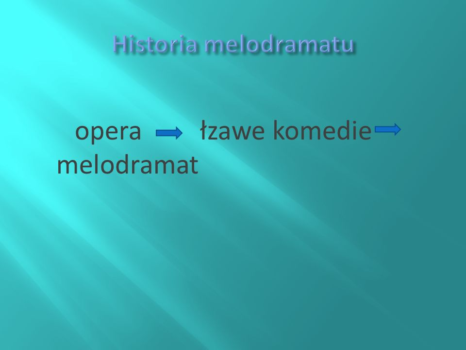 Historia melodramatu opera łzawe komedie melodramat