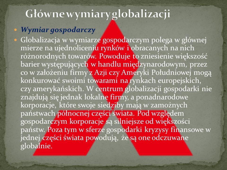 Główne wymiary globalizacji