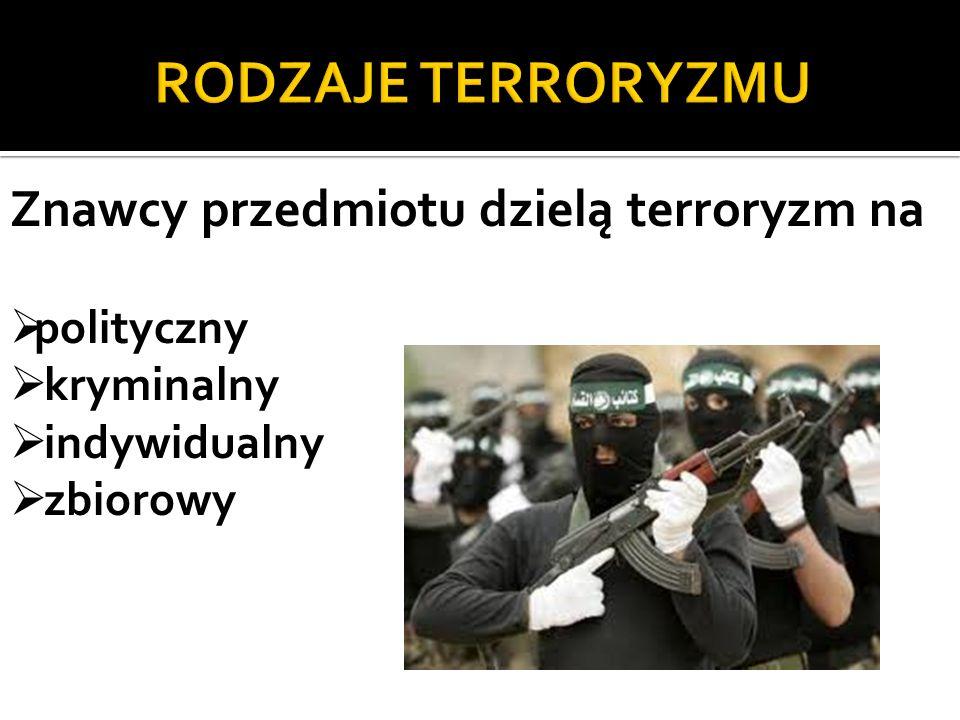 RODZAJE TERRORYZMU Znawcy przedmiotu dzielą terroryzm na polityczny